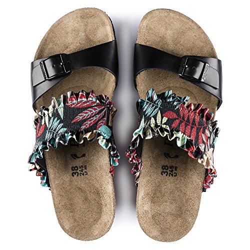 PAPILLIO BIRKENSTOCK DELLA scarpe sandali zeppa Stretch/Pelle naturale FLOWER FRILL BLACK