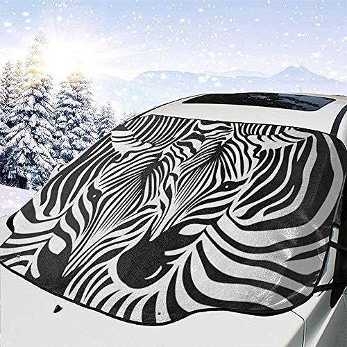 Marina Duncan Lustige Zebra Leopard Print Windschutzscheibe Schneedecke EIS Entfernung Wischer Visier Beschützer Allwetter Winter Sommer Auto Sonnenschutz