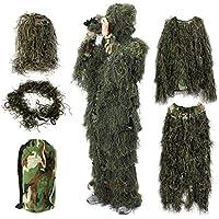 Ghillie Suit 3D, OUTERDO Traje de Camuflaje Para Caza Woodland Ligero Escondido y Airsoft, Animales Mundo Fotografía