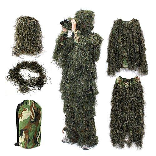 Ghillie Anzug,OUTERDO Camo Anzug Walddesign Militär Blatt Jagd und Schießen Zubehör taktische Camouflage Kleidung Freie Größe für Airsoft, Tierwelt Fotografie Halloween oder Weihnachten