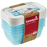keeeper Food Containers, Set of 5, Freezable, Labelled Lid with Rewritable Surface, 5 x 500 ml, 15.5x10.5x6 cm, Mia Polar, Tr