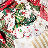 Weihnachten Stoffreste Tasche 100g Bundle für Craft Reste 100% Baumwolle Off Schnitte Santa Rentier Schneeflocke Holly Schneemänner Baum Tartan