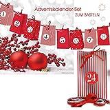 Adventskalender zum Basteln und Selbstbefüllen 30teilig mit 24 Tüten und Zahlenaufkleber von 1-24 …