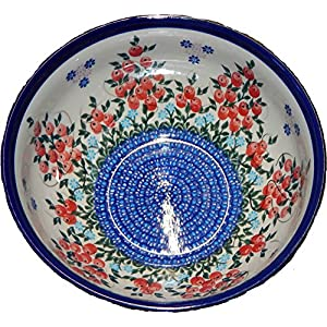 Polish Pottery 0410/282 Ceramika Boleslawiec Bowl Royal Blue with Red Berries and Daisy