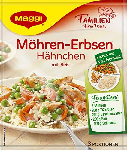 Maggi Familien fix & frisch Möhren-Erbsen Hähnchen mit Reis, 40 g Beutel, ergibt 3 Portionen 18er pack (18 x 40g)