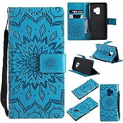 Bear Village Funda Samsung Galaxy S9, Cuero Fundas con [Garantía de por Vida], Protección De Cuerpo Completo Carcasa Case Cover para Samsung Galaxy S9 (#6 Azul)