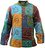 SHOPOHOLIC FASHION Männer Acid Washed Bunt Patchwork Hippie Grandad-Hemd Kurta Tops (L)