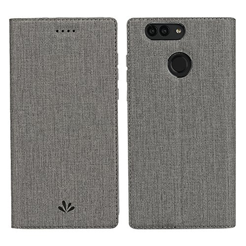 Huawei Nova 2 Plus Hülle,Eactcoo Dünn Premium PU Leder klappbares Folio Flip Case Book TPU Cover Bumper Tasche Mit Standfunktion Magnetverschluss Kartenfach Wallet Handyhülle(Nova 2 Plus, Gray)