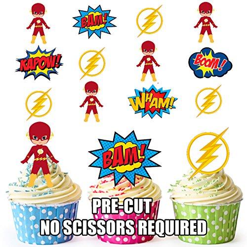 Flash Gordon Callouts Super Hero Mix- 12 décorations comestibles en gaufrette pour cupcakes