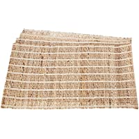 Leaf & Fiber Hand Made All Natural Sustainable and Eco-Friendly Placemats, Banana Fiber/Kora Grass and Cotton, Set of 4 by Leaf & Fiber