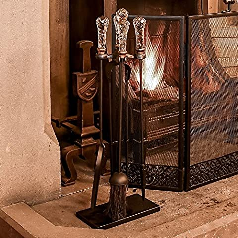 Glass Handled Fire Side Companion Set – An Ideal Gift For The Home That Loves Parisian Style - perfect companion for a country cottage fireplace, mantelpiece or stove - featuring shovel, brush, tongs and poker - durable iron with luxury glass handles - regal and attractive - great for christmas, housewarmings, weddings, iron anniversaries etc - W23 x