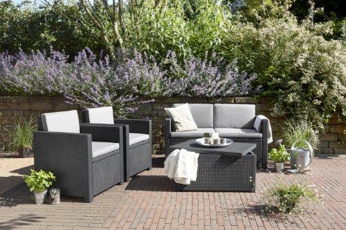 Allibert 220025 Monaco Salon de jardin avec 2 fauteuils, 1 canapé et ...