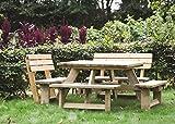 Picknicktisch rounded 'Luxus' 120 x 120 cm inklusive 2 Rückenlehnen, quadratischer Picknicktisch aus 40 mm FSC Fichtenholz, druckimprägniert