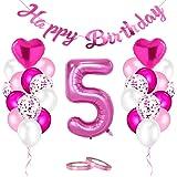 AivaToba luftballonger 5 födelsedag rosa, 5. Födelsedag flicka dekoration, födelsedagsdekoration 5 år flicka, Happy Birthday