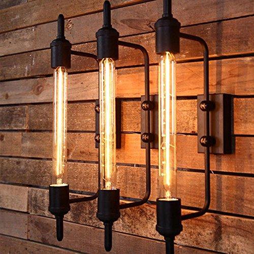 Retro Wandleuchte Metall lange industrielle Käfig Wandleuchten Vintage Wandlampe Loft Beleuchtung für Studie Bekleidungsgeschäft Bar Café warmweiß -
