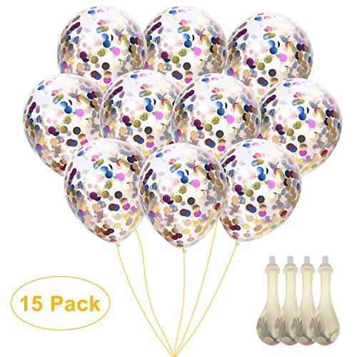 WEBSUN Globos de Confeti 15pcs Globos de Brillo de Plata y Oro para Boda, Propuesta, Decoraciones de Fiesta de Cumpleaños