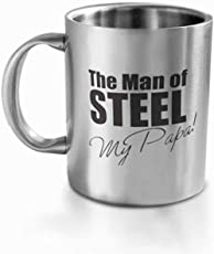 HotMuggs Man of Steel Stainless Steel Double Walled Mug, 350ml, Silver