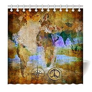 yisumei Hem pesos cortina cortina de ducha Mapa del Mundo Retro Brújula