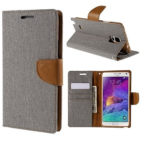 Relax And Shop Premium Look Wallet Style Flip Cover For Xiaomi Redmi Note 4G - Grey /Camel  available at amazon for Rs.189