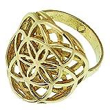 Chic-Net Messing Ringe Blume des Lebens doppelt Brass antik golden nickelfrei Tribal Schmuck 56 (17.8)