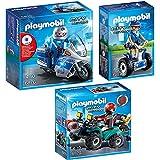 PLAYMOBIL® City Action Set: 6876 Moto treife con lampeggiante a LED + 6877 Poliziotta con Segway + 6879 Quad del Bandito