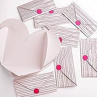 Kuuqa 20 Piezas Forma de Corazón Gracias Tarjetas con 20 Pegatinas Tarjetas de Forma de Corazón para el día de San Valentín