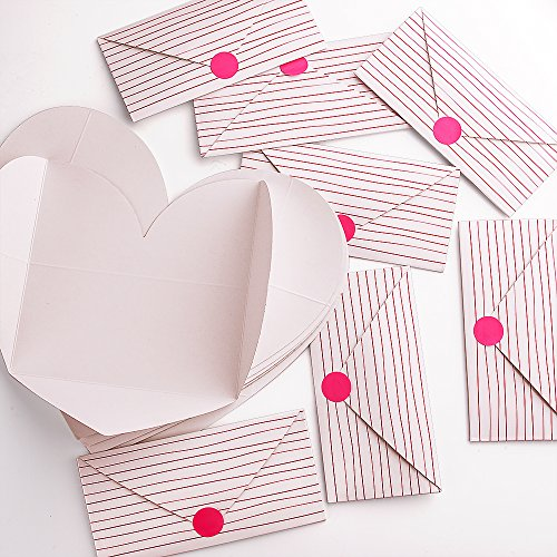 förmige Karte Herz danke Karten mit 20 Aufklebern zum Valentinstag (Immergrün Hochzeit)
