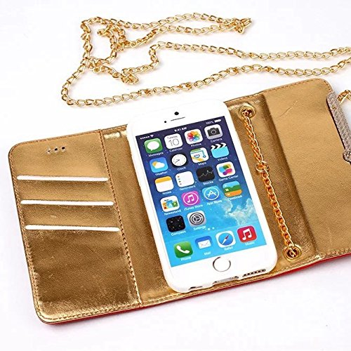 iPhone Case Cover Strass de haute qualité étui en cuir PU, fermeture magnétique Wallet Stand Folio avec dragonne pour iPhone7 ( Color : White , Size : IPhone 7 ) White