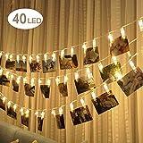 LED-Foto Clip Lichterketten, EBILUN 4.2m 40 LED Hängeleuchte Klammer String Licht Lampe, Wireless-Foto-Fenster, batteriebetriebene Fairy String Lights, Party, Pub, Warmweiß
