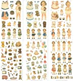Afrocat Papier Sticker Set 6 Bogen - Puppen mit Viel Zubehör - Papierpuppe Anziehpuppe Ausschneidepuppe Aufkleber Scrapbooking - Kartengestaltung