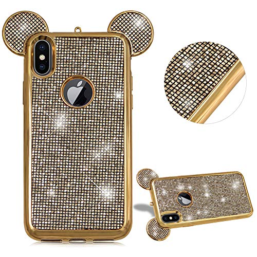 CESTOR Niedlich Zwei Ohren Handyhülle für iPhone 7 Plus/iPhone 8 Plus,Luxus Bling Glänzend Kristall Schutz Etui Anti-Kratzer Ultra Dünn Telefon-Kasten für iPhone 7 Plus/iPhone 8 Plus,Gold - Telefon-kästen Aus Bling