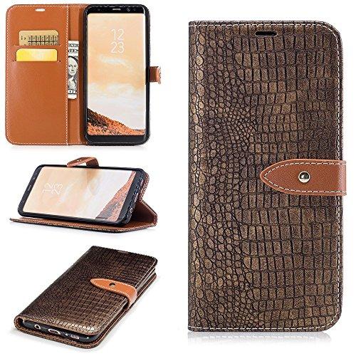 JBTec® Flip Case Handy-Hülle BOOK #M63 KROKODILLEDER-OPTIK zu Samsung Galaxy S8/Plus - Handy-Tasche Schutz-Hülle Cover Handyhülle Bookstyle Booklet, Farbe:Gold, Modell:Galaxy S8+ / Duos / SM-G955 (Krokodilleder Aus Kartenfächer)