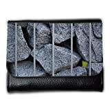Portemonnaie Geldbörse Brieftasche // M00159098 Stein Grid Rau Grau Lochwände // Medium Size Wallet