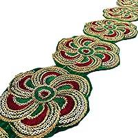 Sari ajuste verde floral de la frontera de la cinta bordada 9.3 cm de ancho del ajuste por el astillero