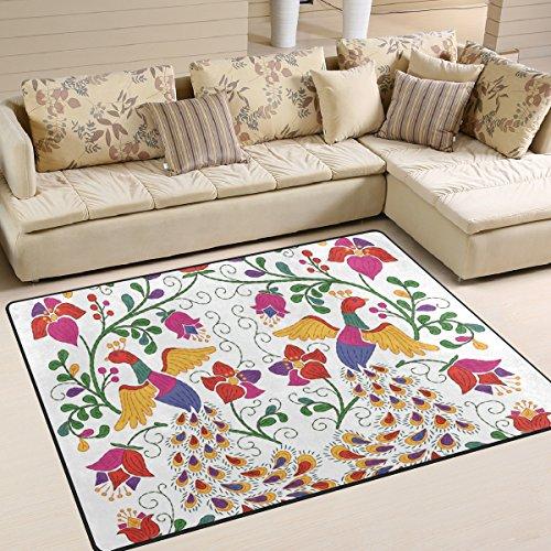 ingbags Super Weich Moderner mexikanischen Pfau und Blumen Teppiche Wohnzimmer Teppich Schlafzimmer Teppich für Kinder Play massiv Home Decorator Boden Teppich und Teppiche 160x 121,9cm, multi, 80 x 58 Inch (Mexikanischer Teppich)