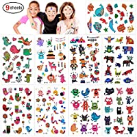 Konsait 160pcs Zoo Animal Temporary Tattoos For Children Kids Grils Boys, Fake Tattoo Stickers Flower Cat Butterfly Perfect For Kids Birthday Party Bags Filler