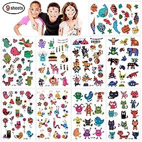 Tatuajes Temporales Para Niños Niñas, Konsait 160pcs dibujos animados animal Tatuaje Falso Pegatinas Flor Mariposa Perfecto Para piñata Niños infantiles fiesta de cumpleaños regalo Bolsas Relleno