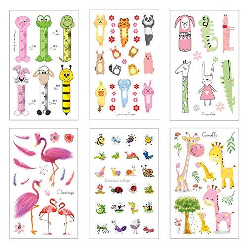 Tatuaggi bambini, yuccer tatuaggi temporanei animali per ragazza impermeabile gioielli per bambina,12 pacco
