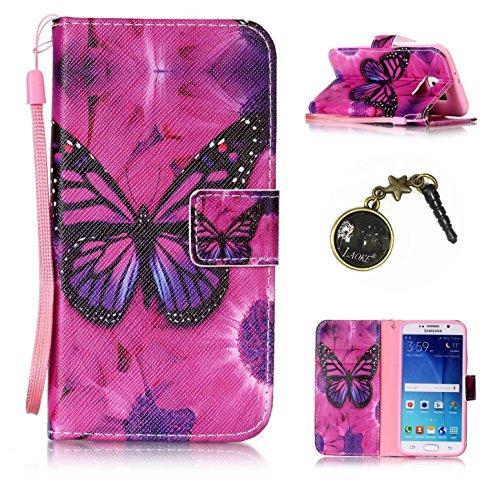 für Smartphone Samsung Galaxy S6 Hülle, Klappetui Flip Cover Tasche Leder [Kartenfächer] Schutzhülle Lederbrieftasche Executive Design +Staubstecker (7OO) 3