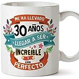 """MUGFFINS Taza 30 Cumpleaños -""""Me ha llevado 30 años llegar a ser increíble y casi perfecto - Regalos Desayuno Feliz Cumpleaño"""