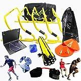 Kit di allenamento velocità e agilità per squadra di calcio di velocità, con DVD con istruzioni in inglese, borsa per trasporto, ostacoli, speed ladder, attrezzo di resistenza per calcio, basket, pallavolo, rugby, hockey