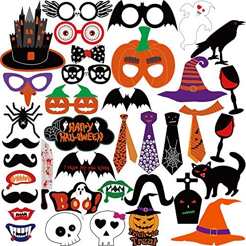 Kuuqa Halloween Foto Booth Props Kit Halloween Party Dekorationen, Packung von 38