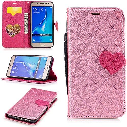 Cozy Hut Samsung Galaxy J5 2016 Hülle, PU Leder Handyhülle Ultra Dünne Ledertasche Magnetverschluss Standfunktion & Kartensfach Wallet Case Flip Schutzhülle für Samsung Galaxy J5 2016 - Pink Love