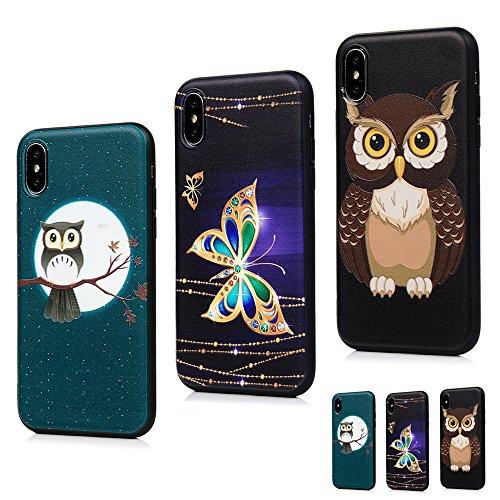MAXFE.CO Schutzhülle Tasche Case für iPhone X TPU Silikon Cover Gemalt Etui Protective Schale Bumper Schmetterling + Eule 1 + Eule 2 Schmetterling + Eule 1 + Eule 2