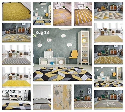 Rio Ochre Yellow Mustard Geometric Tiles Mosaic Modern Design Living Room Area Rug