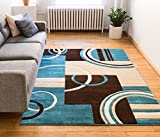 Echo Shapes & Circles Blue & Brown Modern Geometric Comfy Casual Hand Carved Area Rug 120 x 160 cm Easy Clean Stain Fade Resistant Abstract Contemporary Thick Soft Plush Living Room Rug