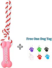 PnM Pet Dog Non Toxic Bone Shape Squeaky & Rope Dog Toy Puppy Toy Puppy Chew Toy Puppy Rope Toy Teething Toy for Dogs & Puppies - Pink