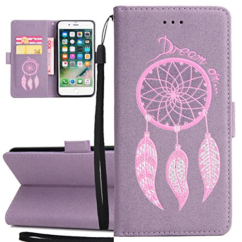 iPhone 7 Plus Cover, Custodia per Apple iPhone 7 Plus, ISAKEN Custodia Fiore e Ragazza Design PU Pelle Book Folding Case Glitter Bling Cover, Supporto Stand e Porta Carte Integrati Portafoglio Flip Co Dream: viola