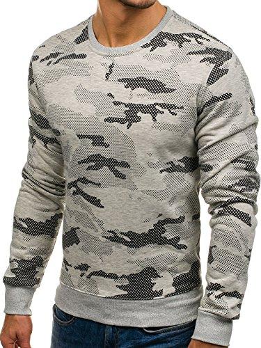 BOLF Herren Sweatshirt Rundhalsausschnitt Pullover sportlicher Stil 1A1 Grau_DD131-2