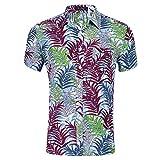 Kuson Urlaub Strand Hawaiihemd Shirt Freizeithemd Kurzarm mit Modischem Druck Wasserpflanzen S